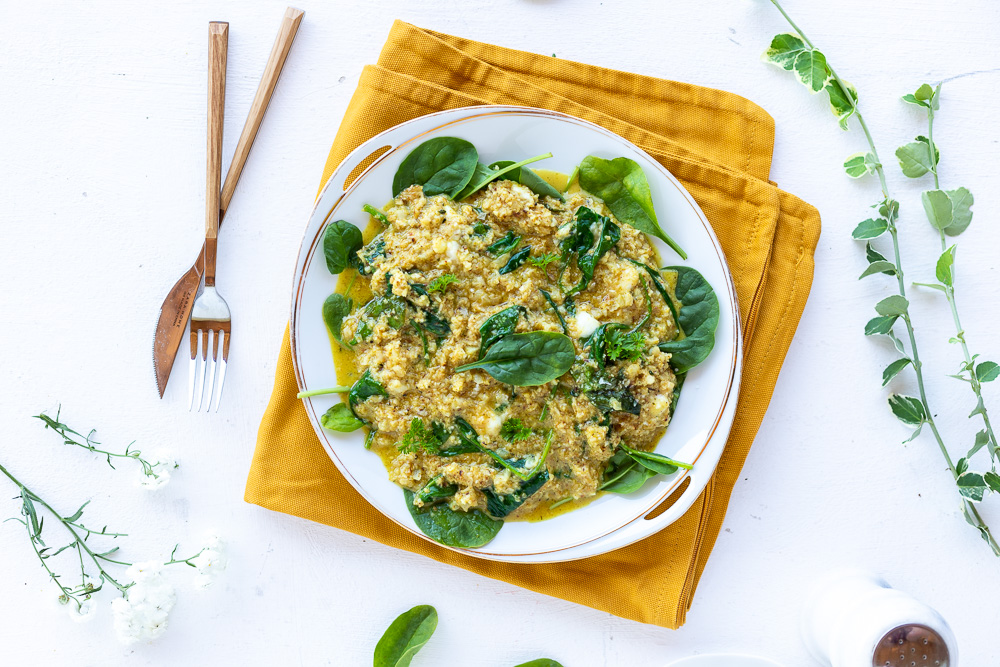 Veganes low carb Risotto mit Spinat